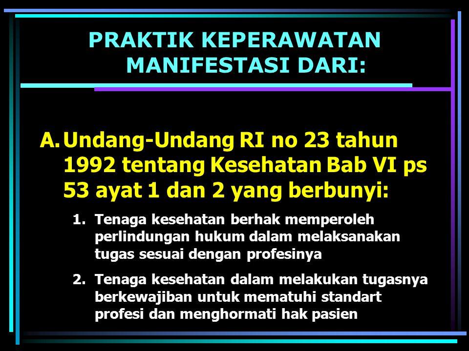 PRAKTIK KEPERAWATAN MANIFESTASI DARI: B.Peraturan Pemerintah No.32 tahun 1966 tentang Tenaga Kesehatan Bab III ps 4 ayat 1 berbunyi: 1.Tenaga kesehatan hanya dapat melakukan upaya kesehatan setelah tenaga kesehatan yang bersangkutan memiliki ijin dari menteri