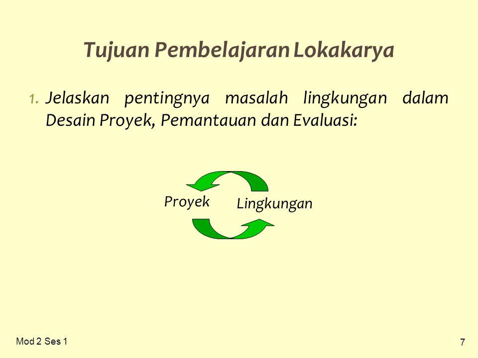 7 Mod 2 Ses 1 1.Jelaskan pentingnya masalah lingkungan dalam Desain Proyek, Pemantauan dan Evaluasi: Tujuan Pembelajaran Lokakarya Proyek Lingkungan