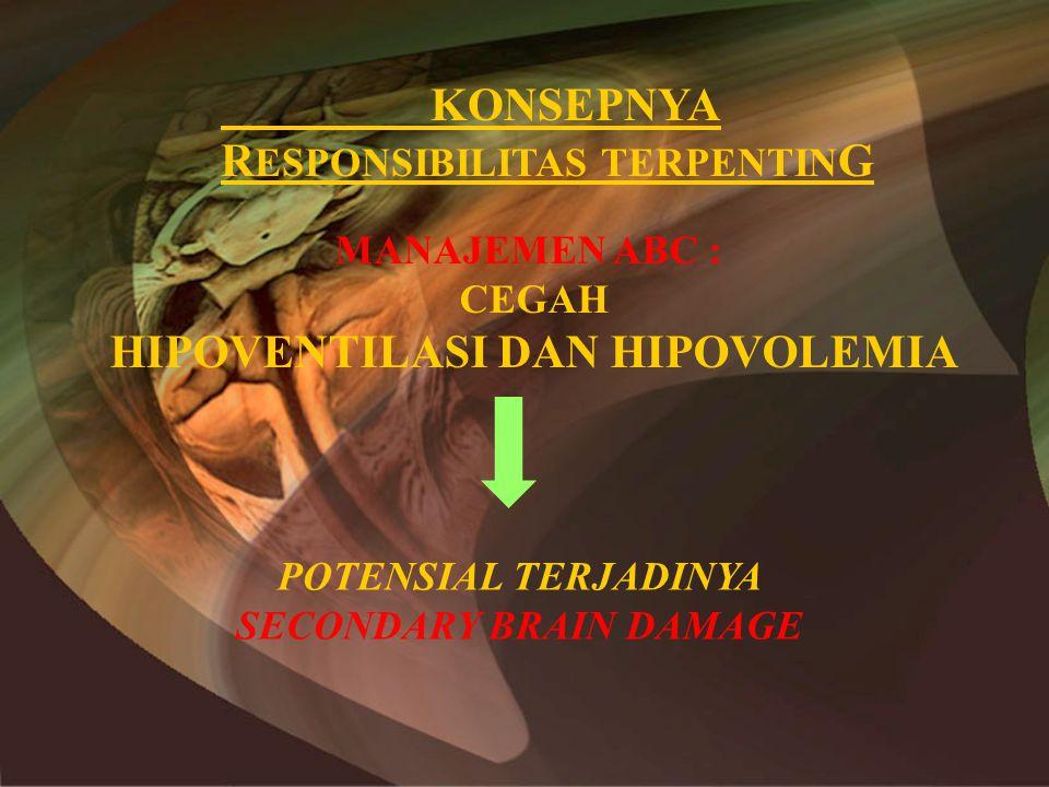 –Pencegahan kejang •Diphenil hidantoin loading dose 13-18mg/kgBB diikuti dosis pemeliharaan 6-8mg/kgBB/hari –Diuretika •Menurunkan produksi CSS •Tidak efektif dalam jangka lama –Kortikosteroid •Tidak dianjurkan untuk cedera otak •Bermanfaat untuk anti edema pada peningkatan TIK non trauma, misal tumor/abses otak