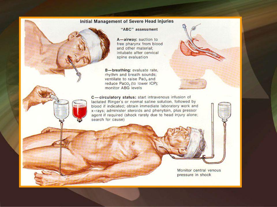 –Manitol •Osmotik diuresis, bekerja intravaskuler pada BBB yang utuh •Efek –Dehidrasi (osmotik diuresis) –Rheologis –Antioksidan (free radical scavenger) •Dosis 0,25-1g/kgBB/pemberian, diberikan 4- 6x/hari •Diberikan atas indikasi: –Ada tanda klinis terjadinya herniasi –Klinis & radiologis TIK meningkat