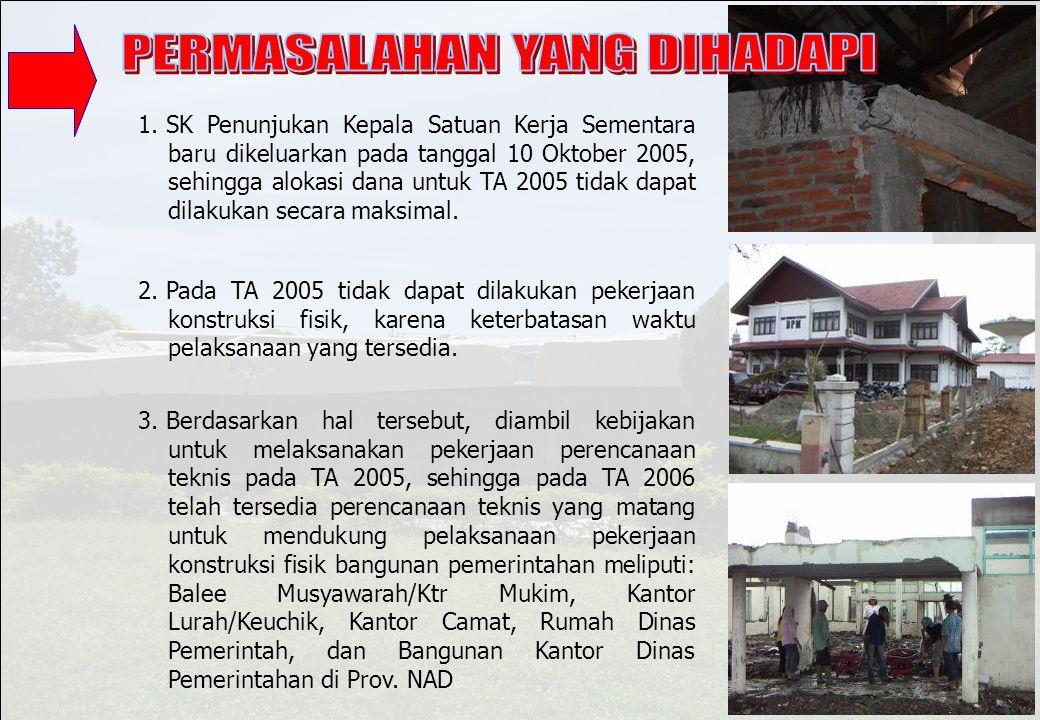 1.SK Penunjukan Kepala Satuan Kerja Sementara baru dikeluarkan pada tanggal 10 Oktober 2005, sehingga alokasi dana untuk TA 2005 tidak dapat dilakukan