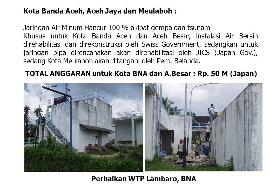 Kota Banda Aceh, Aceh Jaya dan Meulaboh : Jaringan Air Minum Hancur 100 % akibat gempa dan tsunami Khusus untuk Kota Banda Aceh dan Aceh Besar, instal