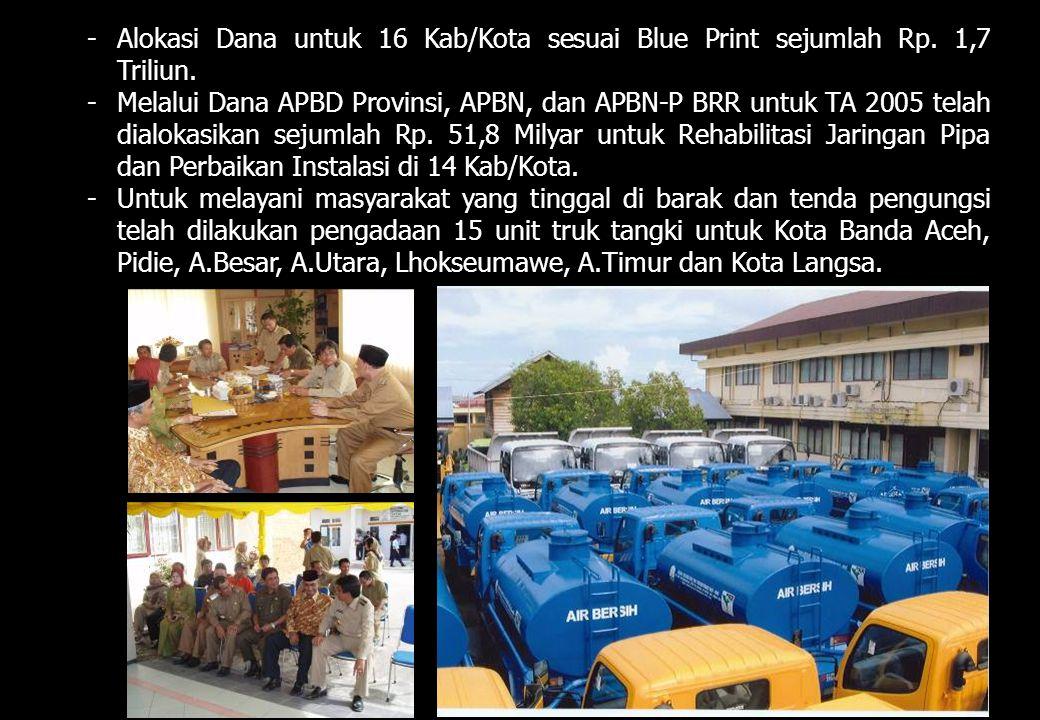 -Alokasi Dana untuk 16 Kab/Kota sesuai Blue Print sejumlah Rp. 1,7 Triliun. -Melalui Dana APBD Provinsi, APBN, dan APBN-P BRR untuk TA 2005 telah dial
