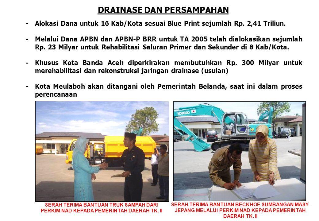 DRAINASE DAN PERSAMPAHAN -Alokasi Dana untuk 16 Kab/Kota sesuai Blue Print sejumlah Rp. 2,41 Triliun. -Melalui Dana APBN dan APBN-P BRR untuk TA 2005
