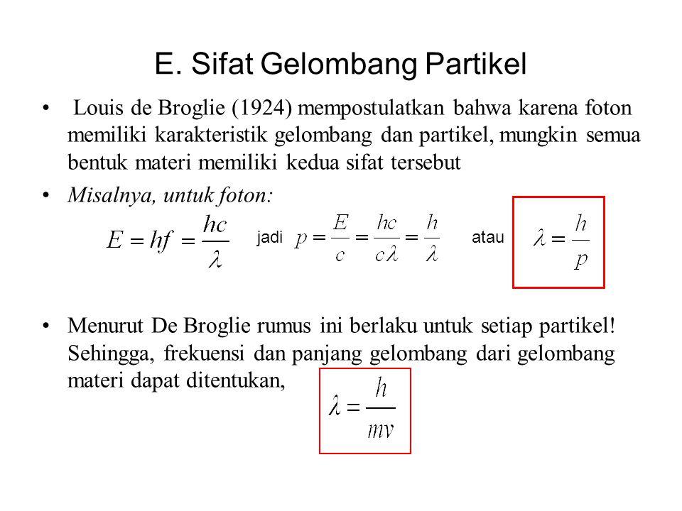 E. Sifat Gelombang Partikel • Louis de Broglie (1924) mempostulatkan bahwa karena foton memiliki karakteristik gelombang dan partikel, mungkin semua b