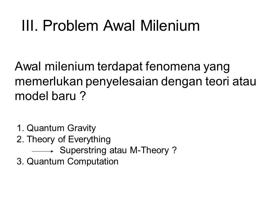Awal milenium terdapat fenomena yang memerlukan penyelesaian dengan teori atau model baru .