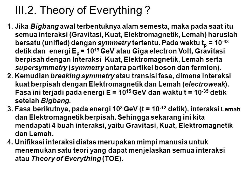 III.2.Theory of Everything . 1.