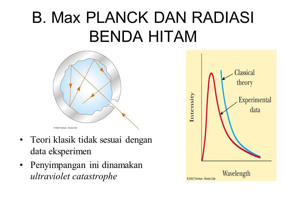 Resolusi Planck : •Postulat Planck: radiasi benda hitam dihasilkan oleh resonator –Resonator adalah osilator harmonik •Resonator hanya dapat memiliki energi diskrit E n = n h ƒ •n dinamakan bilangan kuantum •ƒ frekuensi vibrasi •h disebut tetapan Planck, h=6.626 x 10 -34 J s Energi terkuantisasi