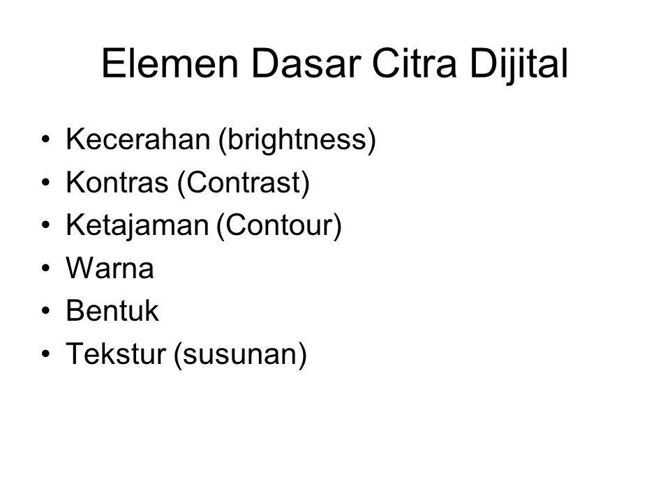 Elemen Dasar Citra Dijital •Kecerahan (brightness) •Kontras (Contrast) •Ketajaman (Contour) •Warna •Bentuk •Tekstur (susunan)