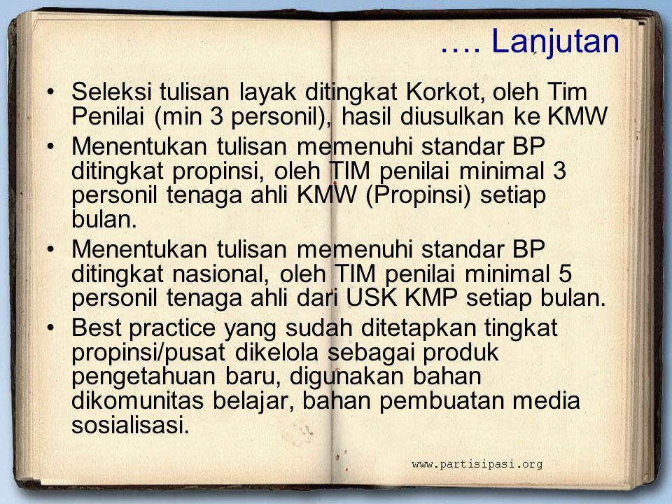 …. Lanjutan •Seleksi tulisan layak ditingkat Korkot, oleh Tim Penilai (min 3 personil), hasil diusulkan ke KMW •Menentukan tulisan memenuhi standar BP