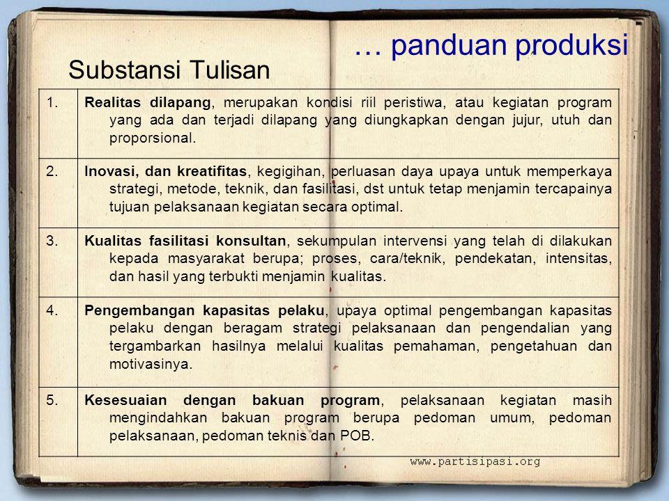 … panduan produksi Substansi Tulisan 1.Realitas dilapang, merupakan kondisi riil peristiwa, atau kegiatan program yang ada dan terjadi dilapang yang d
