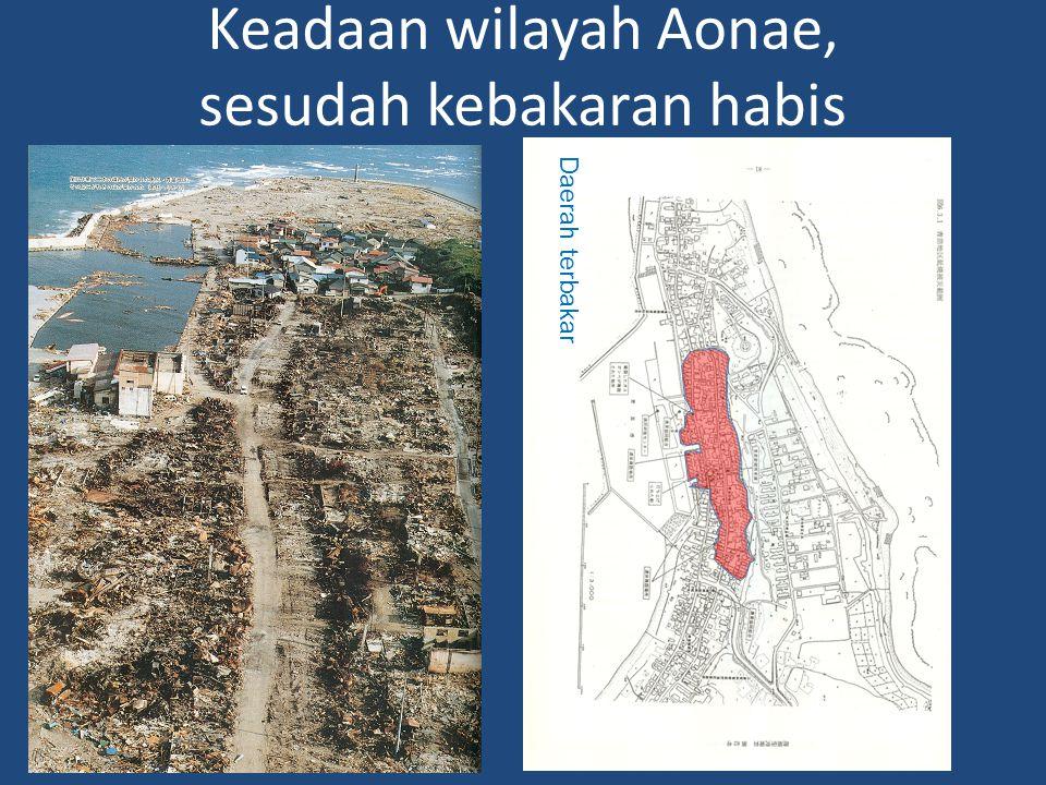 Keadaan wilayah Aonae, sesudah kebakaran habis Daerah hilang Daerah tergenang Daerah terbakar