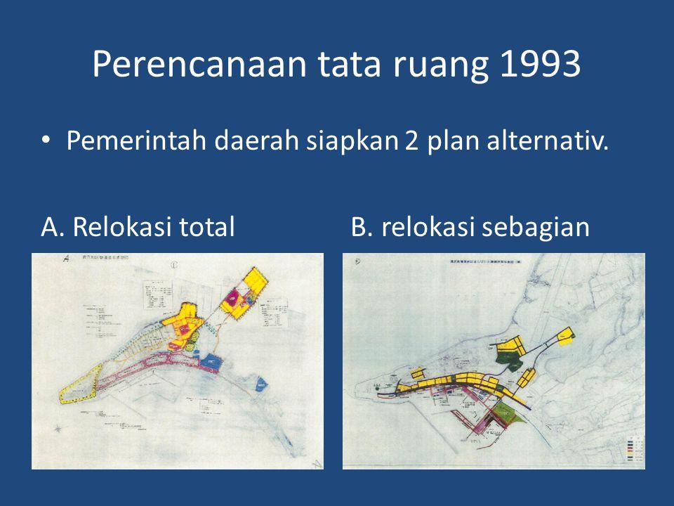 Perencanaan tata ruang 1993 • Pemerintah daerah siapkan 2 plan alternativ.