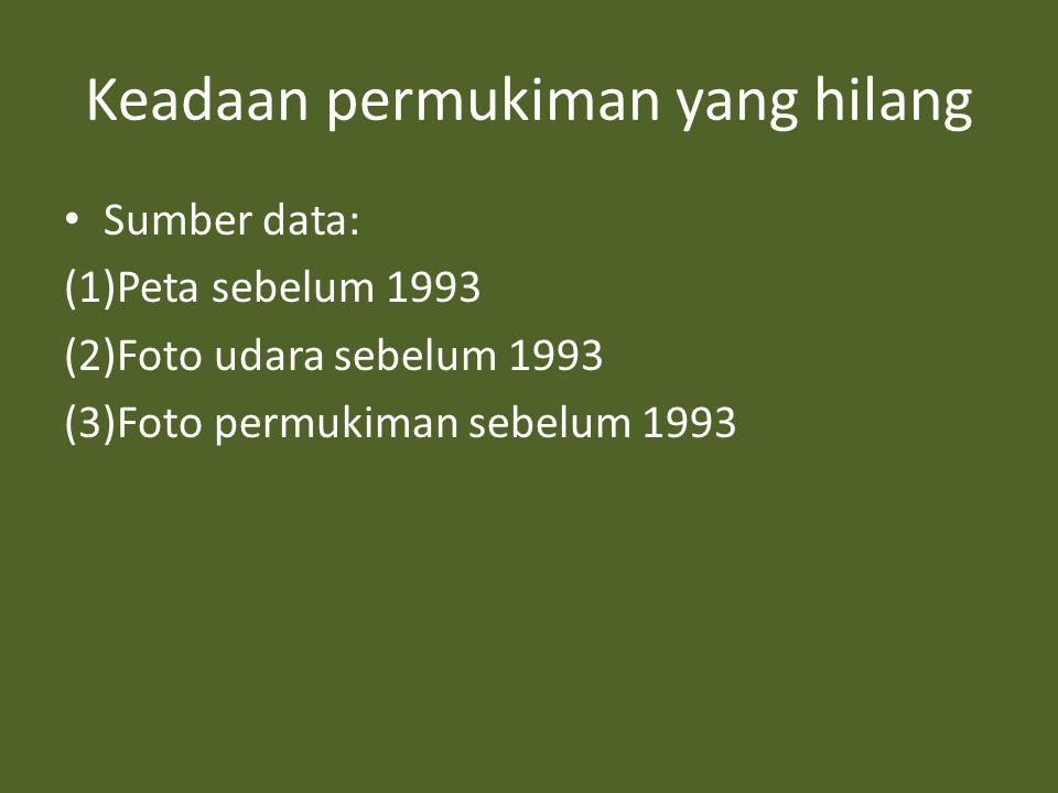 Keadaan permukiman yang hilang • Sumber data: (1)Peta sebelum 1993 (2)Foto udara sebelum 1993 (3)Foto permukiman sebelum 1993