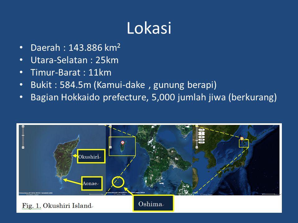 Lokasi • Daerah : 143.886 km 2 • Utara-Selatan : 25km • Timur-Barat : 11km • Bukit : 584.5m (Kamui-dake, gunung berapi) • Bagian Hokkaido prefecture, 5,000 jumlah jiwa (berkurang)