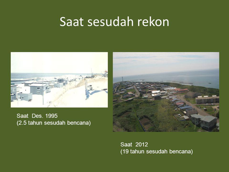 Saat sesudah rekon Saat Des. 1995 (2.5 tahun sesudah bencana) Saat 2012 (19 tahun sesudah bencana)