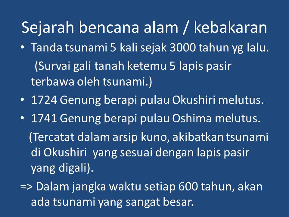Sejarah bencana alam / kebakaran • Tanda tsunami 5 kali sejak 3000 tahun yg lalu.