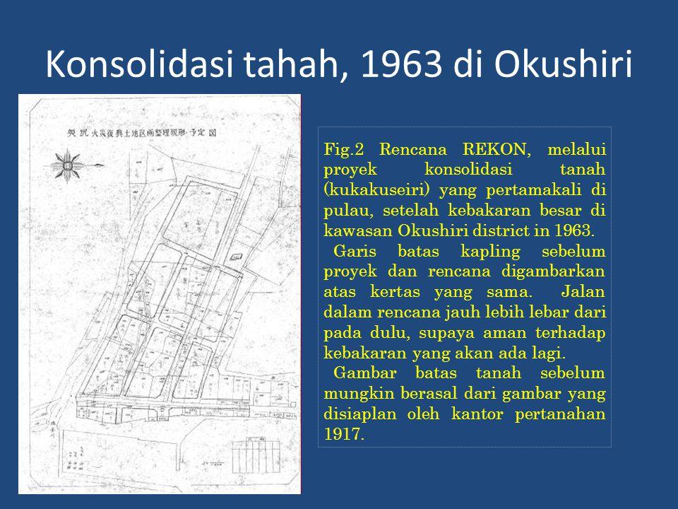 Konsolidasi tahah, 1963 di Okushiri Fig.2 Rencana REKON, melalui proyek konsolidasi tanah (kukakuseiri) yang pertamakali di pulau, setelah kebakaran besar di kawasan Okushiri district in 1963.