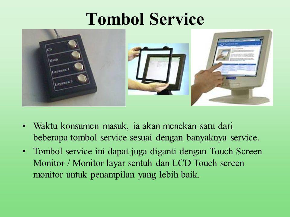 Display (lanjutan) •TV akan menampilkan nomor antrian yang dipanggil dan counter yang akan melayani.