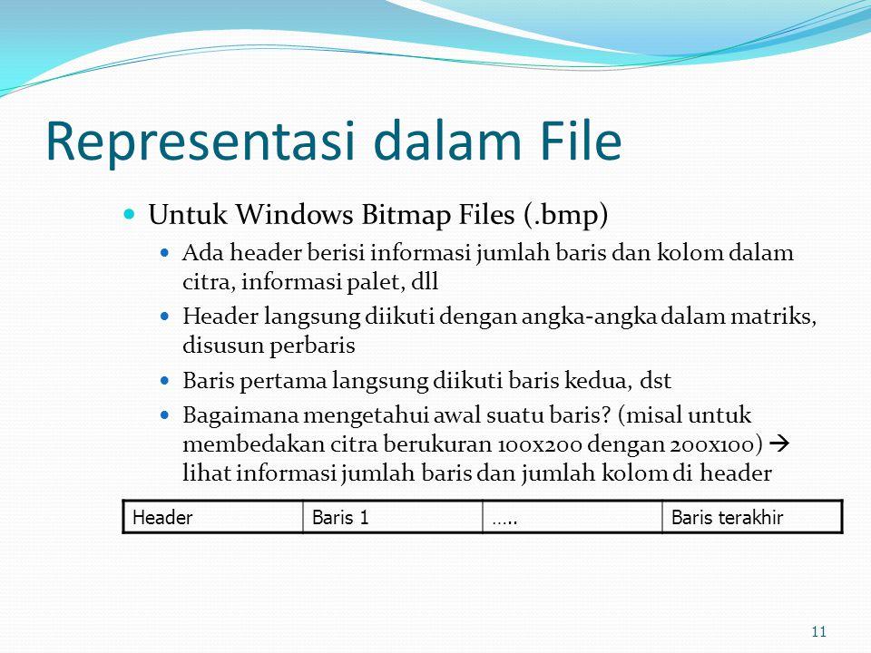 Representasi dalam File  Untuk Windows Bitmap Files (.bmp)  Ada header berisi informasi jumlah baris dan kolom dalam citra, informasi palet, dll  H