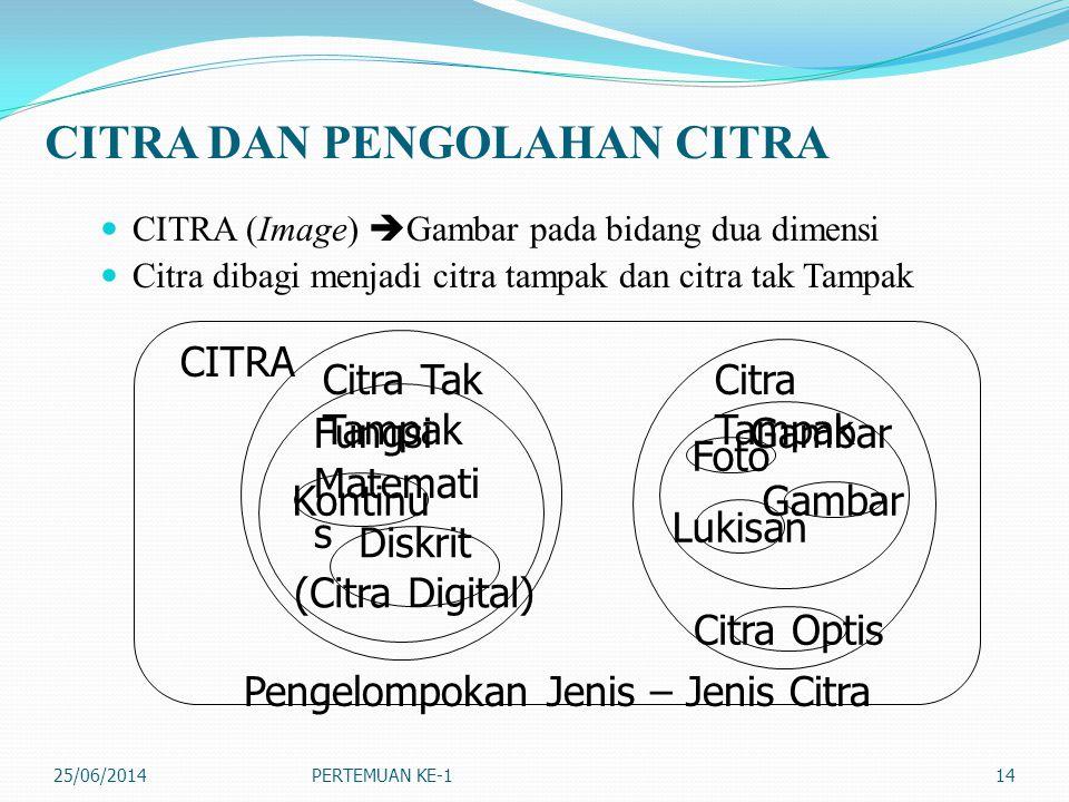 CITRA DAN PENGOLAHAN CITRA  CITRA (Image)  Gambar pada bidang dua dimensi  Citra dibagi menjadi citra tampak dan citra tak Tampak 25/06/2014PERTEMU