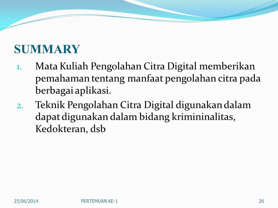 SUMMARY 1. Mata Kuliah Pengolahan Citra Digital memberikan pemahaman tentang manfaat pengolahan citra pada berbagai aplikasi. 2. Teknik Pengolahan Cit