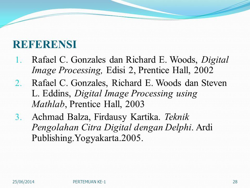 REFERENSI 1. Rafael C. Gonzales dan Richard E. Woods, Digital Image Processing, Edisi 2, Prentice Hall, 2002 2. Rafael C. Gonzales, Richard E. Woods d