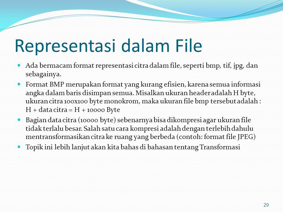 Representasi dalam File  Ada bermacam format representasi citra dalam file, seperti bmp, tif, jpg, dan sebagainya.  Format BMP merupakan format yang