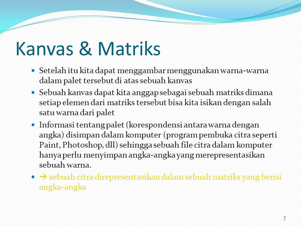Kanvas & Matriks  Setelah itu kita dapat menggambar menggunakan warna-warna dalam palet tersebut di atas sebuah kanvas  Sebuah kanvas dapat kita ang