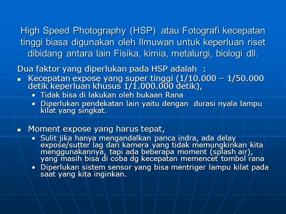 High Speed Photography (HSP) atau Fotografi kecepatan tinggi biasa digunakan oleh Ilmuwan untuk keperluan riset dibidang antara lain Fisika, kimia, metalurgi, biologi dll.