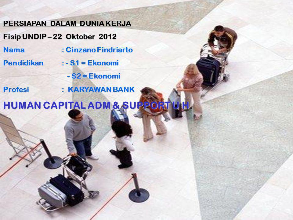 PERSIAPAN DALAM DUNIA KERJA Fisip UNDIP – 22 Oktober 2012 Nama : Cinzano Findriarto Pendidikan : - S1 = Ekonomi - S2 = Ekonomi - S2 = Ekonomi Profesi