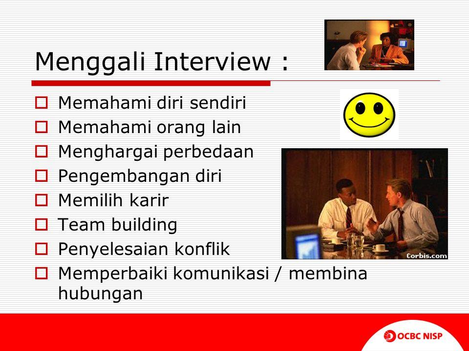 Menggali Interview :  Memahami diri sendiri  Memahami orang lain  Menghargai perbedaan  Pengembangan diri  Memilih karir  Team building  Penyel