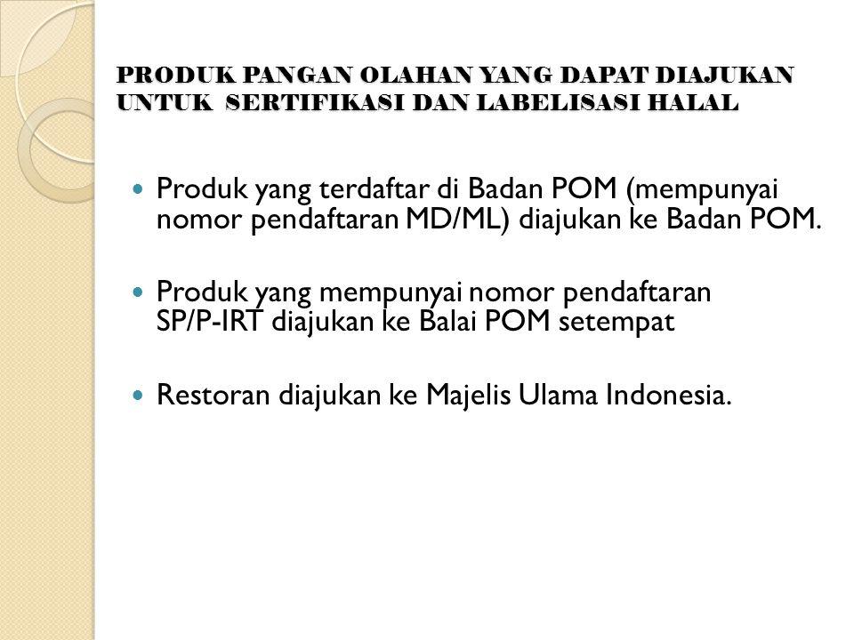 PRODUK PANGAN OLAHAN YANG DAPAT DIAJUKAN UNTUK SERTIFIKASI DAN LABELISASI HALAL PProduk yang terdaftar di Badan POM (mempunyai nomor pendaftaran MD/