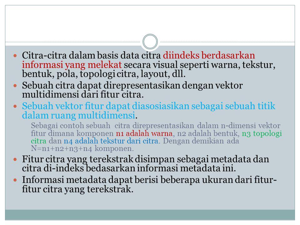  Citra-citra dalam basis data citra diindeks berdasarkan informasi yang melekat secara visual seperti warna, tekstur, bentuk, pola, topologi citra, layout, dll.