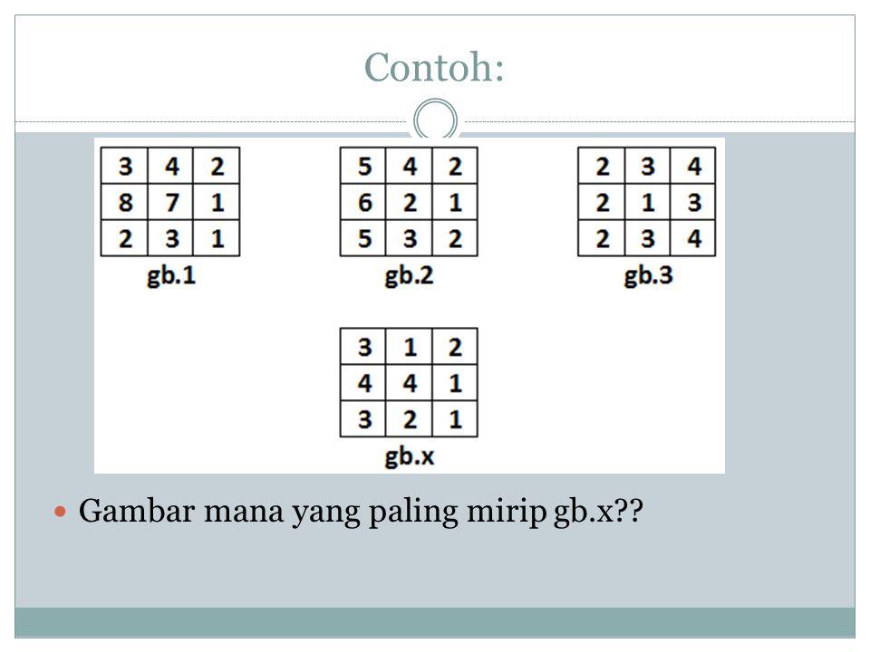 Contoh:  Gambar mana yang paling mirip gb.x??