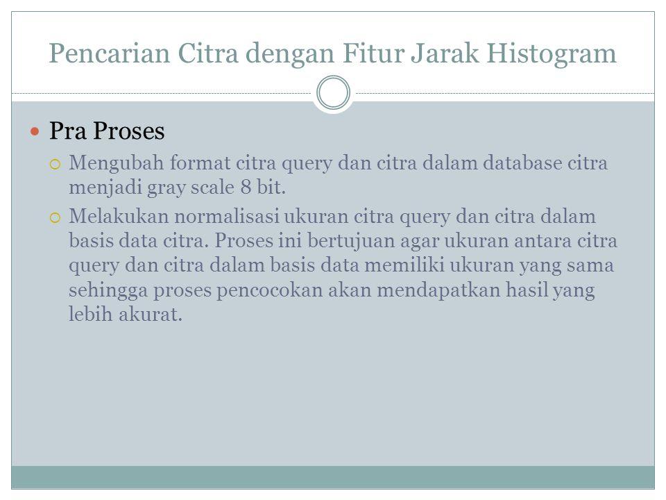 Pencarian Citra dengan Fitur Jarak Histogram  Pra Proses  Mengubah format citra query dan citra dalam database citra menjadi gray scale 8 bit.
