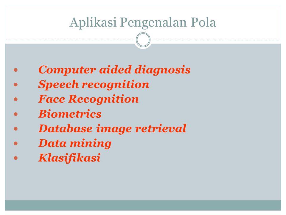 Aplikasi Pengenalan Pola  Computer aided diagnosis  Speech recognition  Face Recognition  Biometrics  Database image retrieval  Data mining  Kl