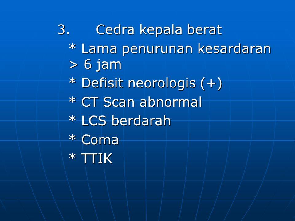 Manifestasi Klinik 1. Cedra kelapa ringan 13-15 * Mula kecelakaan penurunan kesadaran < 10 menit /= kesadaran < 10 menit /= * Defisit neorologis (-) P
