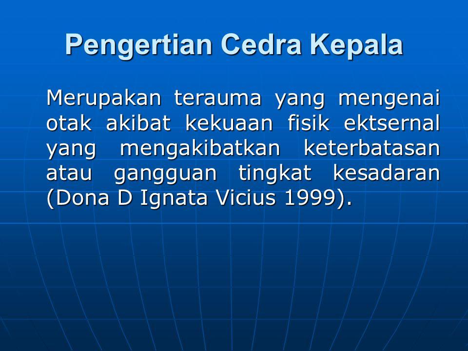 Pengertian Cedra Kepala Merupakan terauma yang mengenai otak akibat kekuaan fisik ektsernal yang mengakibatkan keterbatasan atau gangguan tingkat kesadaran (Dona D Ignata Vicius 1999).