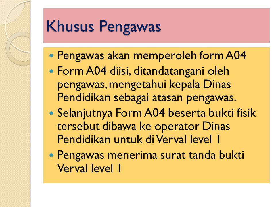 Khusus Pengawas  Pengawas akan memperoleh form A04  Form A04 diisi, ditandatangani oleh pengawas, mengetahui kepala Dinas Pendidikan sebagai atasan
