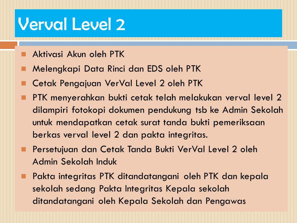 Verval Level 2  Aktivasi Akun oleh PTK  Melengkapi Data Rinci dan EDS oleh PTK  Cetak Pengajuan VerVal Level 2 oleh PTK  PTK menyerahkan bukti cet