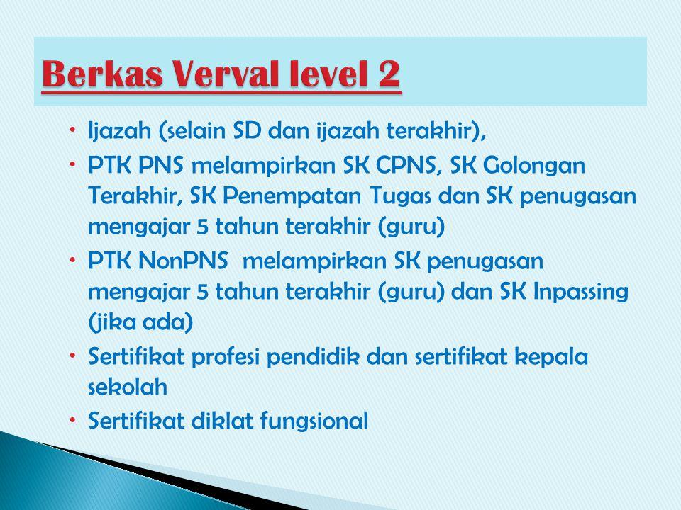  Ijazah (selain SD dan ijazah terakhir),  PTK PNS melampirkan SK CPNS, SK Golongan Terakhir, SK Penempatan Tugas dan SK penugasan mengajar 5 tahun t