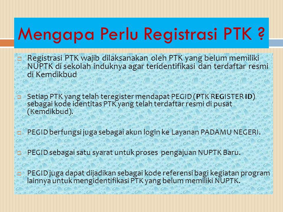 Mengapa Perlu Registrasi PTK .