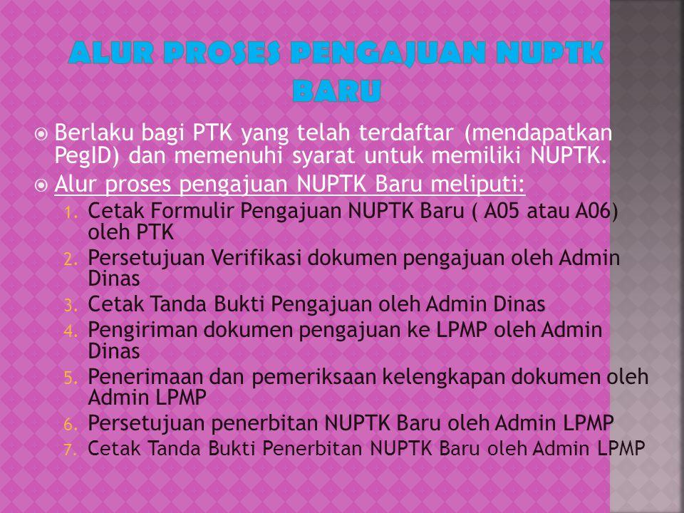  Berlaku bagi PTK yang telah terdaftar (mendapatkan PegID) dan memenuhi syarat untuk memiliki NUPTK.  Alur proses pengajuan NUPTK Baru meliputi: 1.