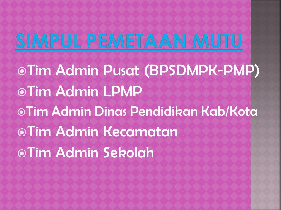  Tim Admin Pusat (BPSDMPK-PMP)  Tim Admin LPMP  Tim Admin Dinas Pendidikan Kab/Kota  Tim Admin Kecamatan  Tim Admin Sekolah