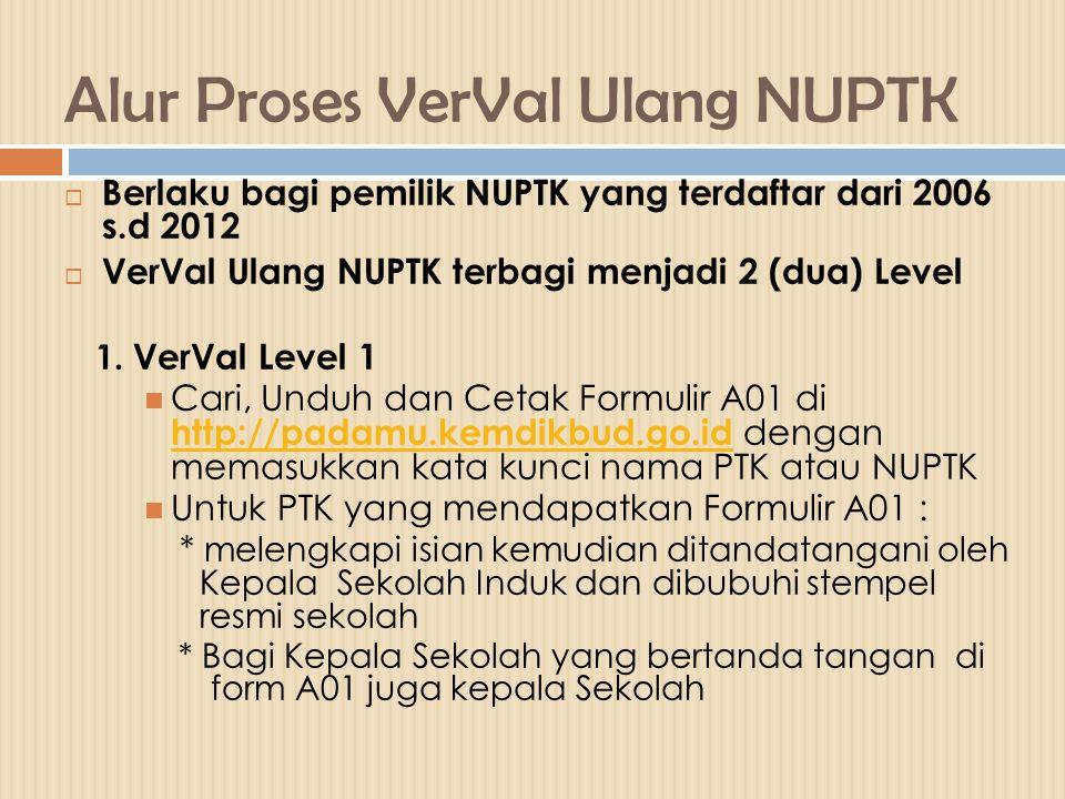 Alur Proses VerVal Ulang NUPTK  Berlaku bagi pemilik NUPTK yang terdaftar dari 2006 s.d 2012  VerVal Ulang NUPTK terbagi menjadi 2 (dua) Level 1. Ve