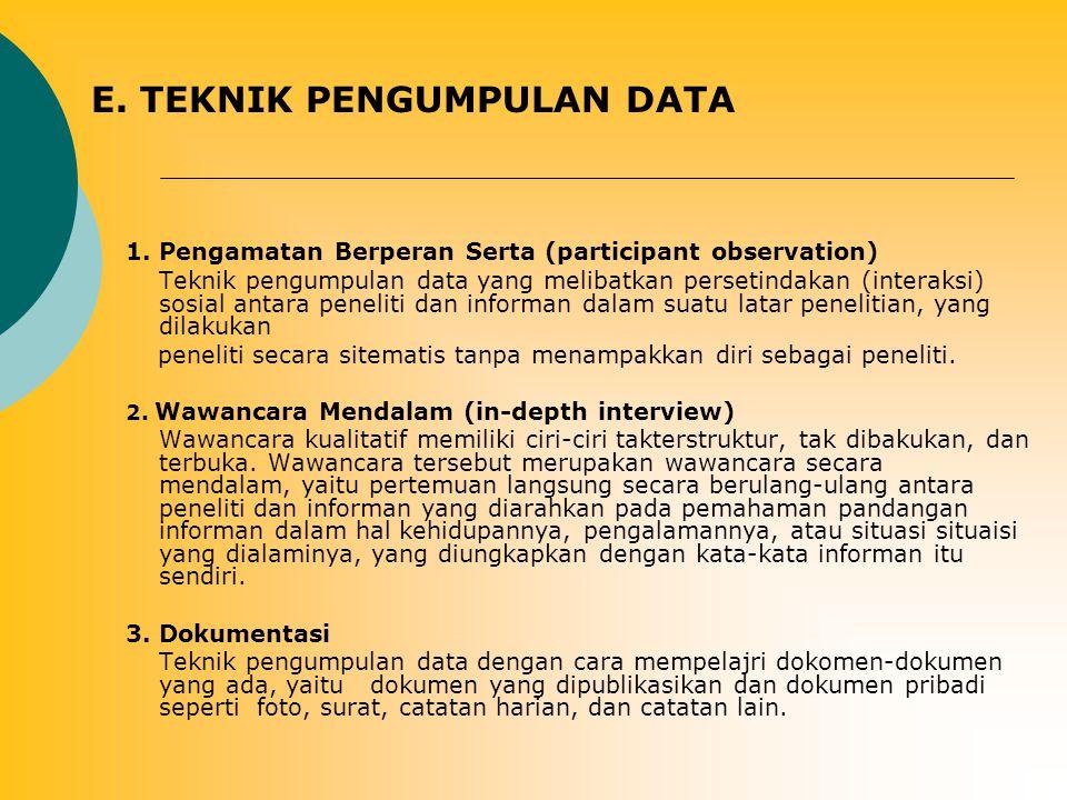 E. TEKNIK PENGUMPULAN DATA 1. Pengamatan Berperan Serta (participant observation) Teknik pengumpulan data yang melibatkan persetindakan (interaksi) so