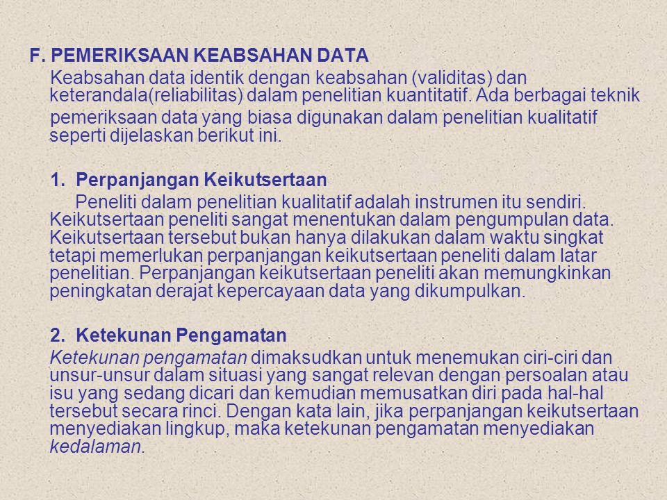 F. PEMERIKSAAN KEABSAHAN DATA Keabsahan data identik dengan keabsahan (validitas) dan keterandala(reliabilitas) dalam penelitian kuantitatif. Ada berb