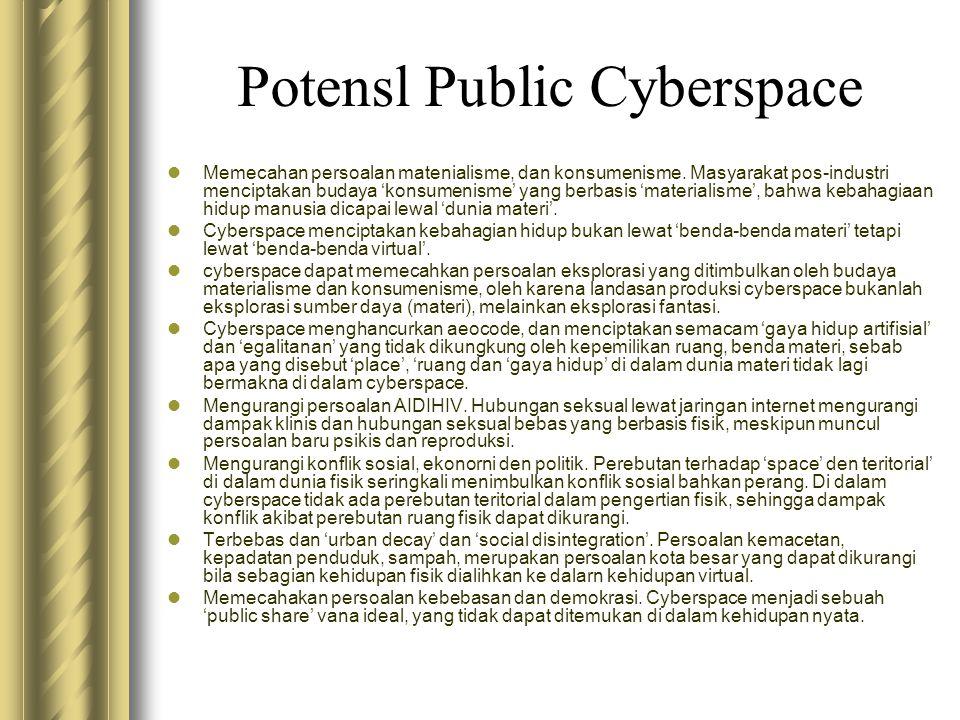 Potensl Public Cyberspace  Memecahan persoalan matenialisme, dan konsumenisme. Masyarakat pos-industri menciptakan budaya 'konsumenisme' yang berbasi