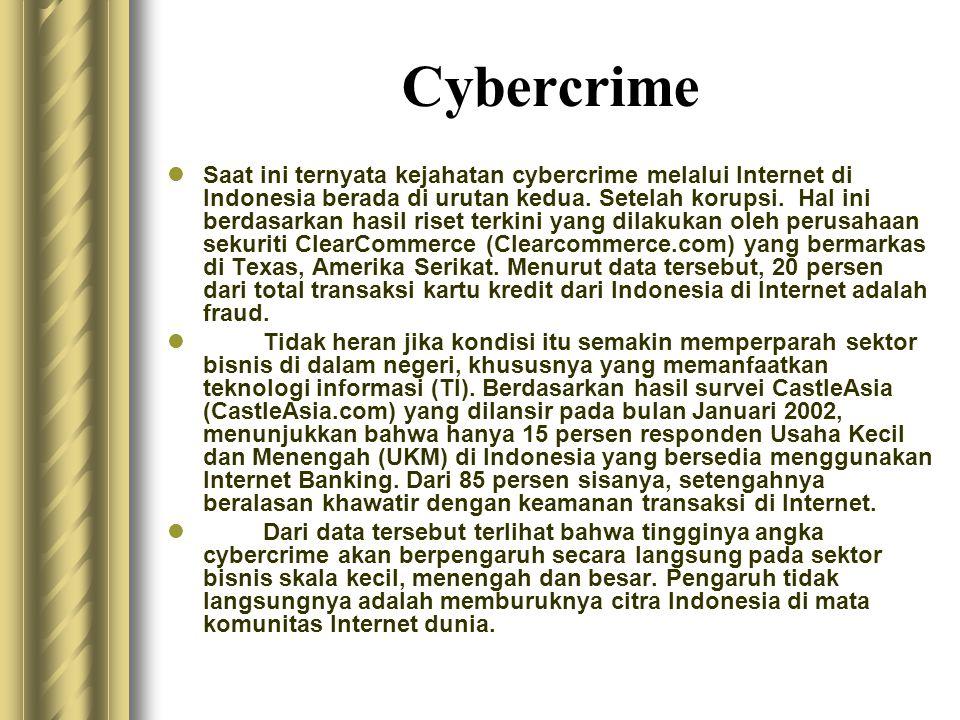 Cybercrime  Saat ini ternyata kejahatan cybercrime melalui Internet di Indonesia berada di urutan kedua. Setelah korupsi. Hal ini berdasarkan hasil r